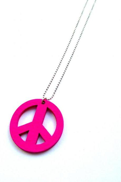 Love and Peace Hot Pink Necklace :) Happy Lovely Cute Kawaii Jewelry for Kids and Girls xoxo Love Factory
