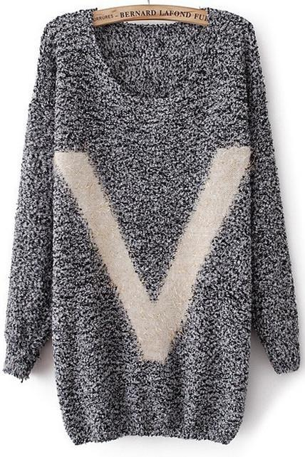 Pullovers Design V Print Long Sleeve Sweater - Grey