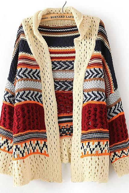 Ethnic Style Woman Color Blocking Long Sleeve Cardigans