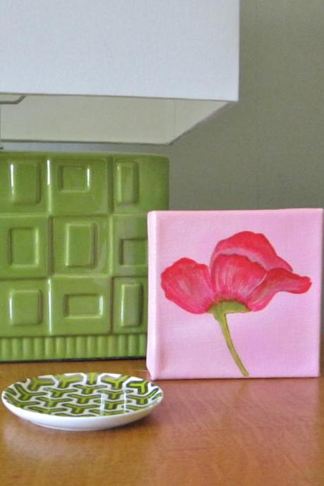 PInk Poppy Flower 5x5 original painting Modern Botanical Nature Petals Stem Leaves Green redtilestudio