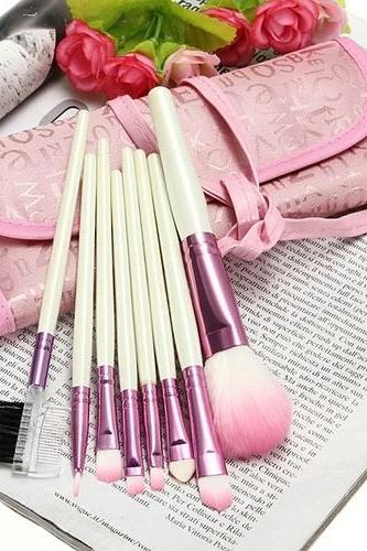 8 pcs Cosmetic Makeup Brush Set + Pink Bag
