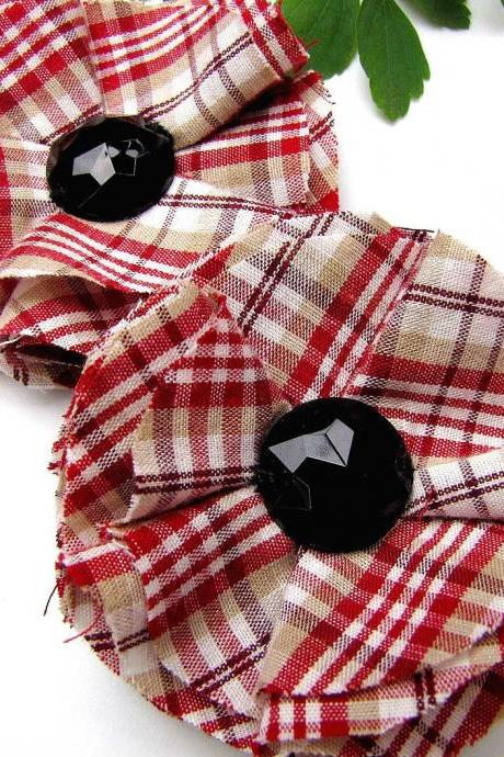 Shoe clips with handmade fabric flowers (set of 2 pcs )- RED PLAID COTTON
