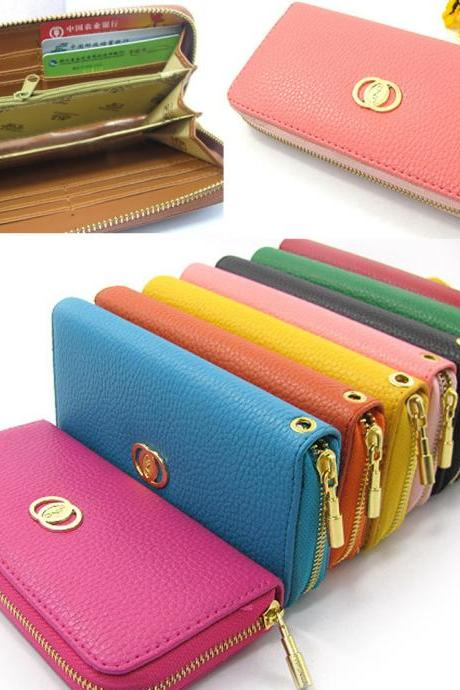 pu leather Wallet Clutch Long Handbag Phone Case for Iphone Galaxy HTC