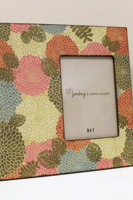5x7 Photo Frame Pink Green Flowers