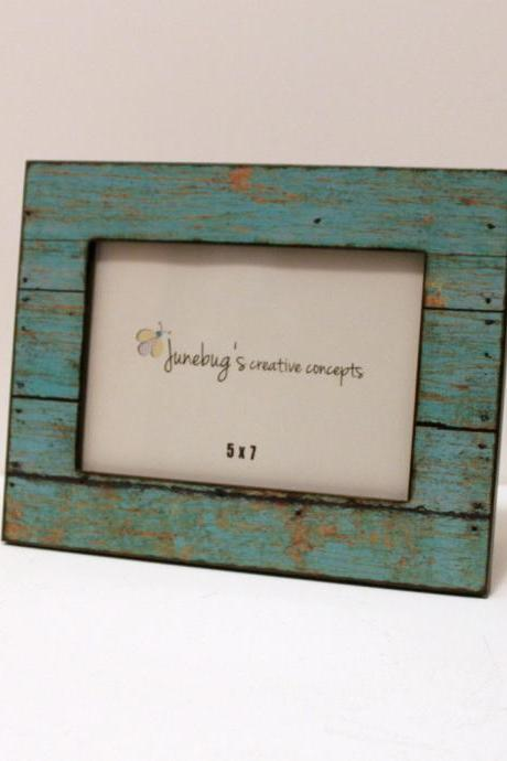 5x7 Photo Frame Turquoise Faux Distressed Wood