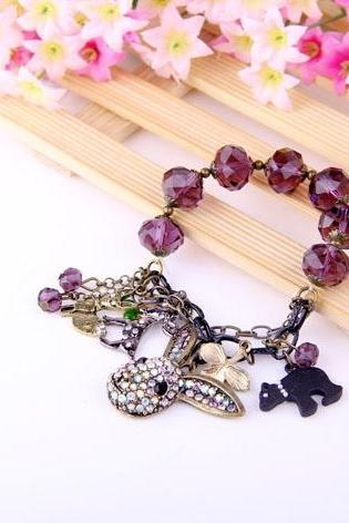 Fashion Purple Color Rhinestone Bracelet ,Full Rhinestone Rabbit