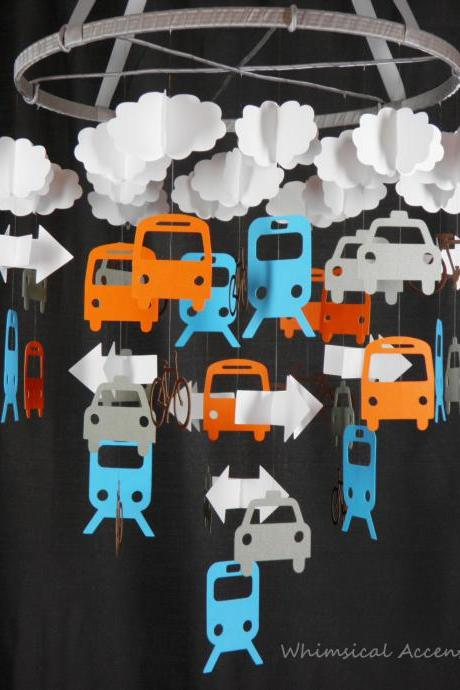Transportation Nursery Baby Mobile with Clouds and Arrows - Extra Large