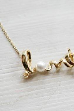 LOVE Word Necklace Pendant Necklace Pearl Women Jewelry