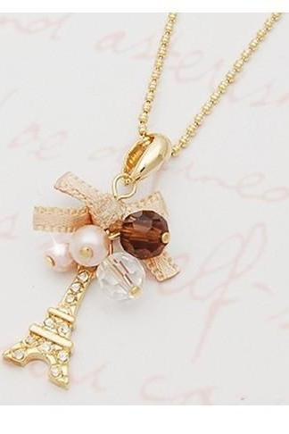 New Stylish Elegance Wild Bow Bowknot Butterfly Eiffel Tower Necklace Women Jewelry