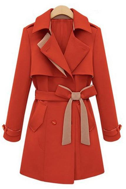 Special Clipping Turndown Collar Button Closed Trench Coat with Belt - Orange Red