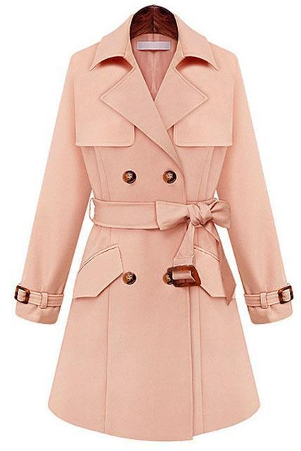 Women Essential Double Breasted Trench Coat - Pink