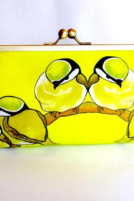 Kisslock Frame Clutch Silk Lined Yellow Birds on a Branch Chickadee Purse