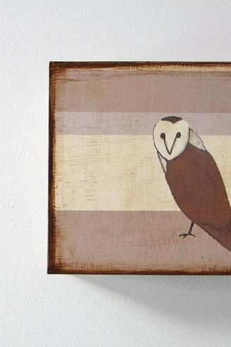 Barn Owl with Neutral Stripes 5x5 art block wood block grey brown white red tile studio