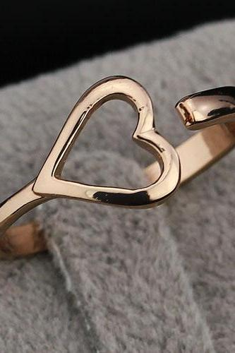 Simple 'Love' Brass Rose Yellow Gold Plated Lady Ring