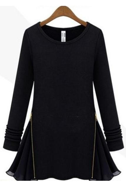 Star Style Chiffon Patchwork Zip Decoration Long Sleeve Dress - Black