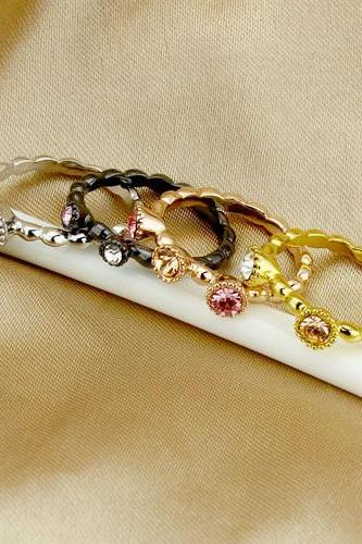 Lovely Rings Brass Gold Plated Lady Rings Set (4pcs)