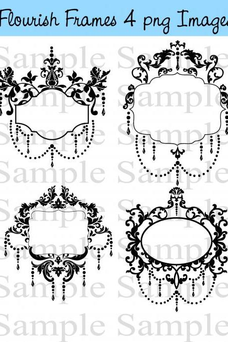 Vintage Flourish Frames Clip Art Digital Flourishes DIY Wedding Invitations Ornamental Frames Banners
