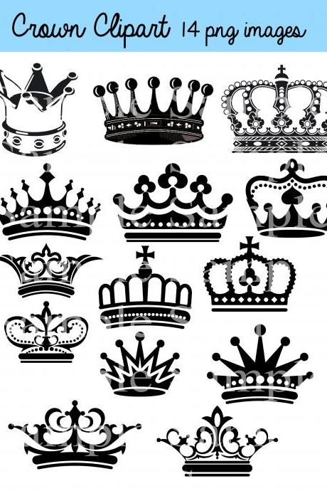 Crown Clipart Clip Art, Crown Silhouette Clipart Clip Art black crowns, color crowns, royal clipart princess crowns
