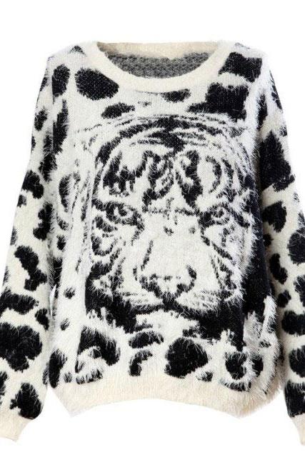 Soft Furry Tiger Pattern Leopard Sweaters&Cardigant