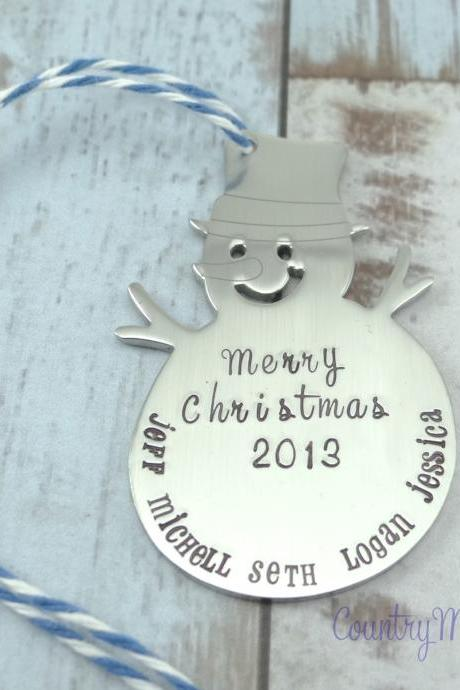 Personalized Hand Stamped Snowman Christmas Ornament Frosty The Snowman