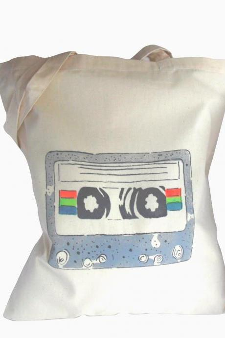 Cassette tape bag cotton hand stencilled print