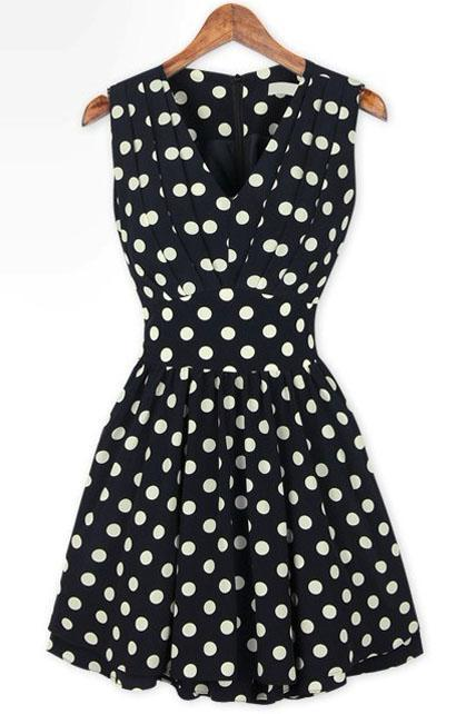 Adorable Tank Style V Neck Polka Dot Print Ball Gown Dress - Black