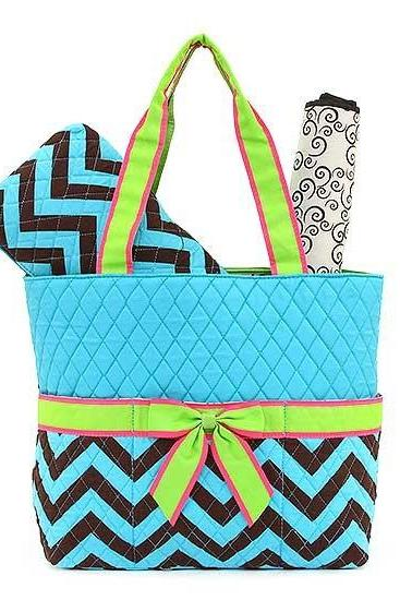 Monogrammed 3 Piece Quilted Chevron Diaper Bag~~Trendy~