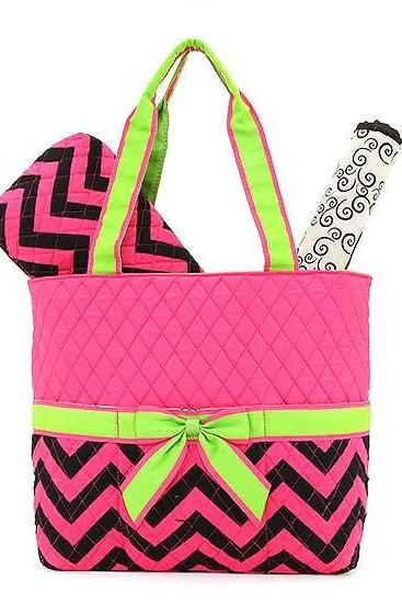Monogrammed 3 Piece Quilted Chevron Diaper Bag~~Trendy~~