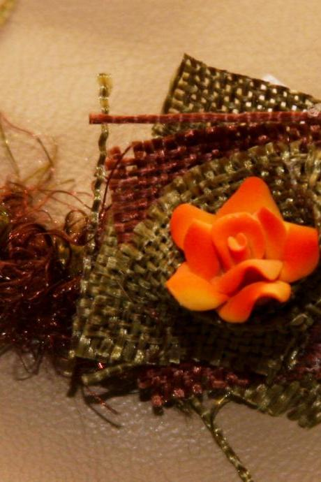 Tieback -Autumn Chic hair accessory - Brown & Green Burlap with Orange Flower