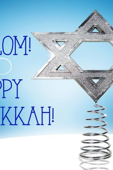 Chanukkah-Hanukkah-Festival of Lights-Holidays-Photo Card- Star of David - 5 X 7 -2 Sided