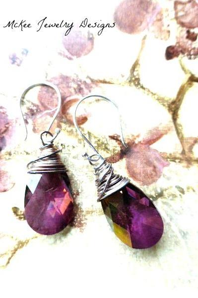 Lilacs. Swarovski crystal Passions lilac shadow, faceted purple pear pendant, sterling silver wire wrapped earrings, hand made jewelry, jewellery