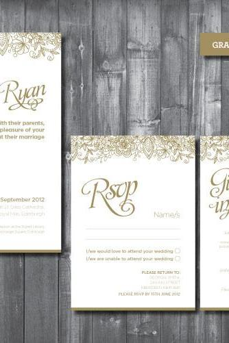 Wedding Invitation Suite - Digital Printable File - Grace Wedding Range - DIY Wedding