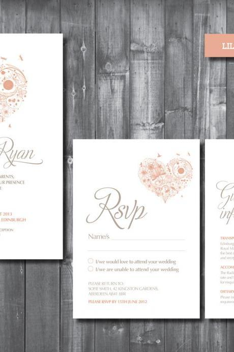 Wedding Invitation Suite - Digital Printable File - Lila Wedding Range - DIY Wedding