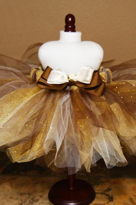 Brown, Cream & Gold Glitz Tutu