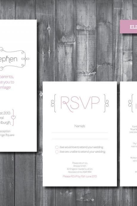 Wedding Invitation Suite - Digital Printable File - Elle Wedding Range - DIY Wedding