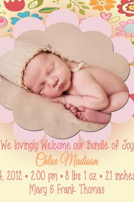 Birth Announcement-- Spring Flowers-1 Sided