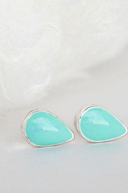 Mini Dainty Teardrop Blue Stud Earrings, Bright Cyan Ear Posts, Minimalist Jewelry