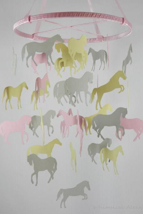 Horse Nursery Decorative Mobile in Pink, Gray and Light Yellow