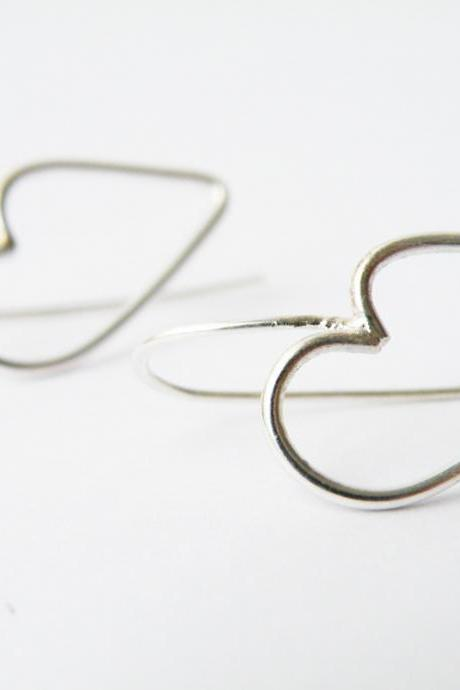 Sterling Silver Heart Earrings Outlined Hearts Romantic Minimalist Earrings by SteamyLab