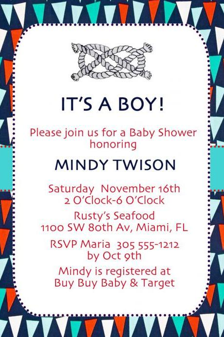 Baby Shower Invite - Flags & Knots 5 X 7 -1 Sided