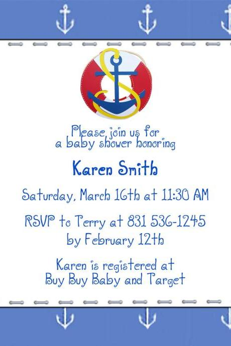 Baby Shower Invite - SHIP AHOY 5 X 5 -1 Sided