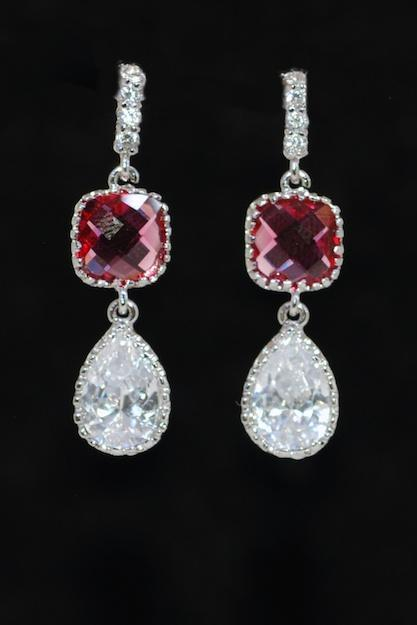 Fuchsia Glass Quartz Cubic Zirconia Teardrop Earring - Wedding Earrings, Bridesmaid Earrings, Bridal Jewelry (E576)