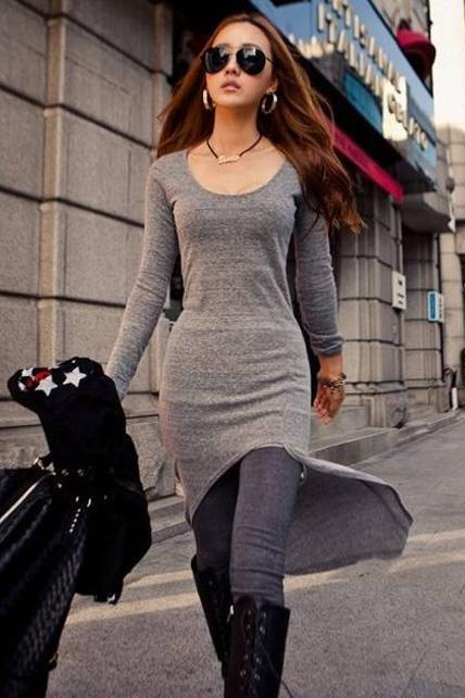Casual Skinny Long Sleeve High Low Dress - Grey
