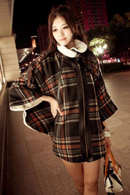 Ladylike Zip Closed Loose Plaid Pattern Cap Coats