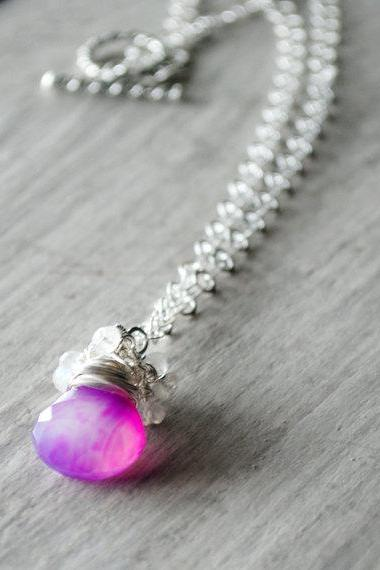Light Magenta Necklace Sterling Silver Chalcedony Rainbow Moonstone Gemstones