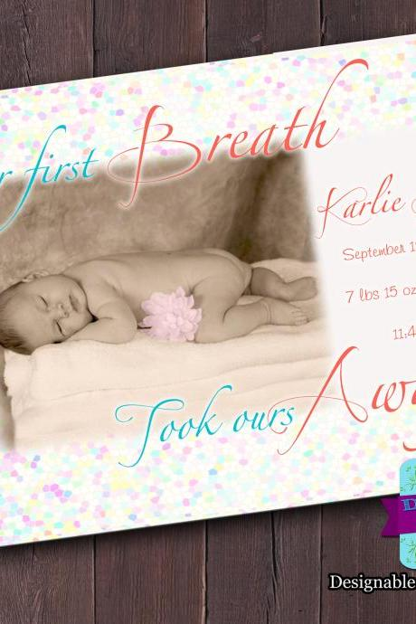 Baby Announcement - First Breath (Girl)