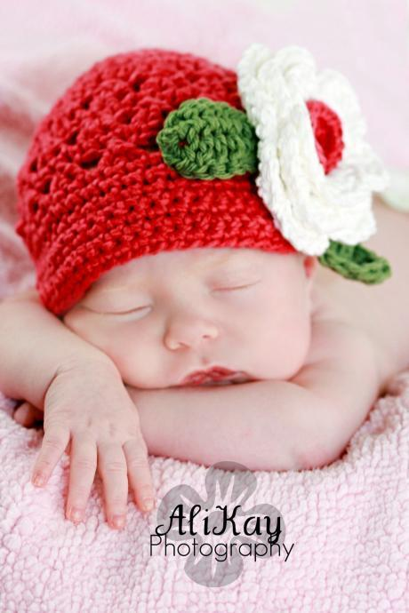 Girls Newsboy cap with Flower Newborn to Toddler sizing Photography prop