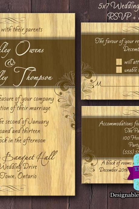 Wood Wedding Invitation Set