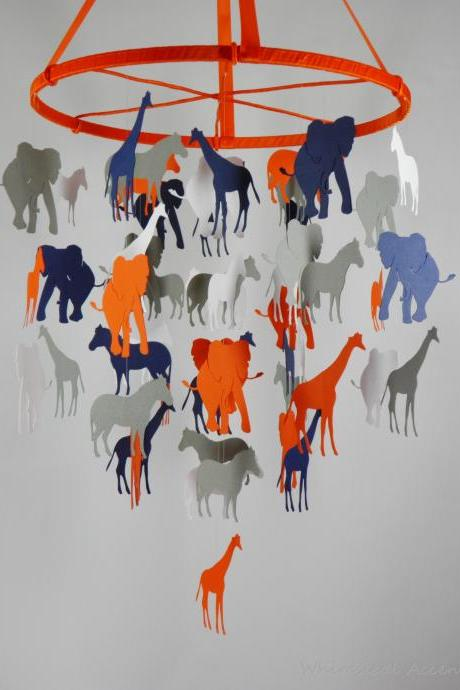 Going on A Safari Baby Paper Nursery Mobile - Extra Large in Orange, Gray, White and Navy Blue