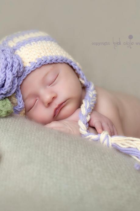 Crochet Purple and Cream Earflap Hat Newborn to Toddler sizes Photography Prop